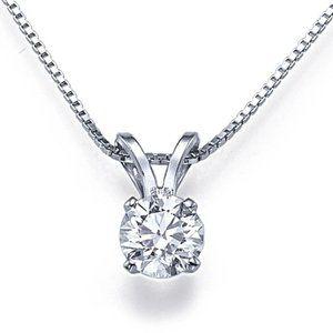 Sparkling Solitaire Diamond Pendant 0.75 Carat